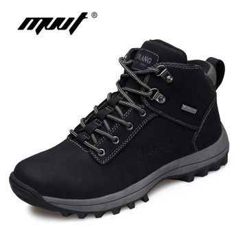 Brand Super Warm Men's boots Autumn Winter Leather boots Waterproof Rubber Snow Boots