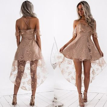 Sexy Women Strap Lace Splicing Off Shoulder Dress