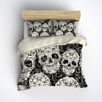 Featherweight Skull Bedding -  Sugar Skull and Scroll Pattern on Cream - Comforter Cover - Sugar Skull Duvet Cover, Sugar Skull Bedding Set