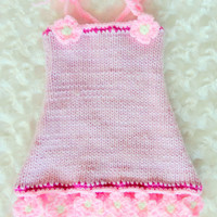 Pink Baby Dress Knit Baby Dress Baby Girl Dress with Flowers Photo Prop Dress
