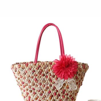 Floral Decor Woven Tote Bag