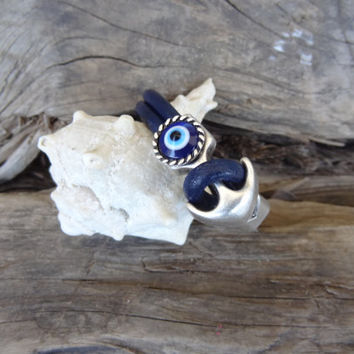 Unisex, Evil Eye Navy Blue Leather Bracelet, Unisex Jewelry, Evil Eye Bracelet, Cuff Bracelet, Valentine's Gifts
