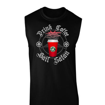 Red Cup Drink Coffee Hail Satan Dark Muscle Shirt by