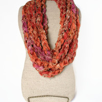 Crochet Rope Cowl, Coral Pink Variegated Neck Cowl, Looped Neck Cowl, Coral Infinity Rope Cowl, Infinity Necklace