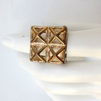 Vintage Retro 1980s brass geometric statement ring