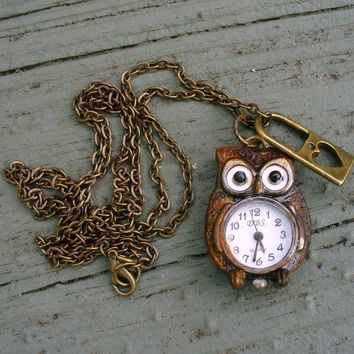 Steampunk Cute OWL  HEART lock NecklaceRUSTY by UmbrellaLaboratory