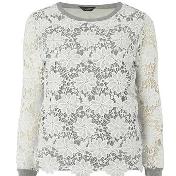 Grey/ivory lace detail sweater - Tops & T-Shirts - Clothing