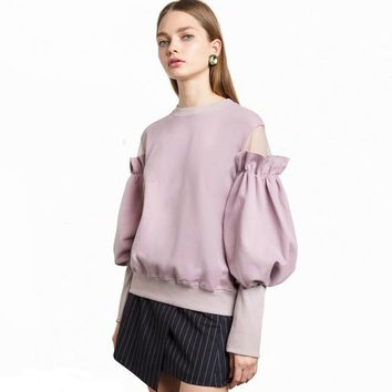 Fashion Women Cute lantern Sleeve Sweatshirt Casual O-Neck Solid Tops Brief Butterfly Off Shoulder Pullovers