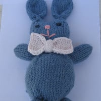 Handmade cute little blue bunny with white bow, soft plush kids toy, rabbit toy blue with white