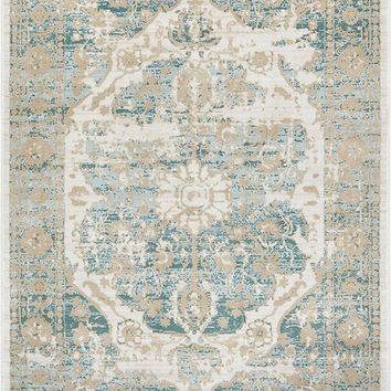 2918 Teal Blue Tribal Distressed Persian Area Rugs