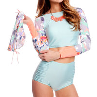 Long Sleeve High Waisted Mint Green Patterned Two Piece Swimsuit