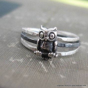 Hammered Owl Stack Rings Sterling Silver by jorgensenstudio
