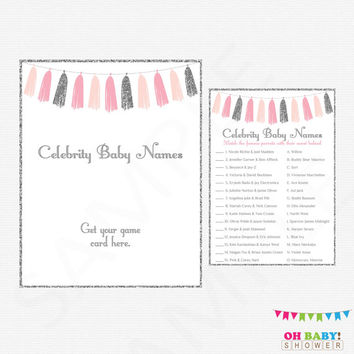 Pink and Silver Baby Shower, Celebrity Baby Name Game, Baby Shower Printables, Girl Baby Shower Games, Glitter, Instant Download, TASPS