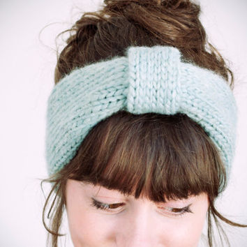 knitted sea green wool & acrylic headband