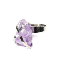 Purple Quartz Geode Crystal Ring Adjustable Silver Tone Cocktail Statement RJ13 Fashion Jewelry