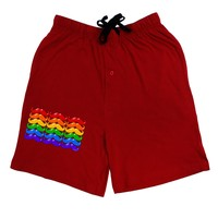 Rainbow Mustaches Gay Pride Flag Adult Lounge Shorts - Red- Medium