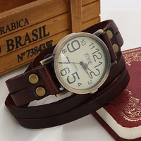 Women's Vintage Retro Brown Leather Strap Bracelet Wrap Watch +Gift Box