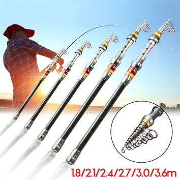 2.7m 3m 3.6m Portable Carbon Fiber Ultralight Travel Telescopic Fishing Rod Sea Spinning Pole fishing gear made of carbon fiber