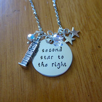 "Peter Pan Inspired Necklace. Peter Pan ""Second Star To The Right"". Swarovski crystals, for women or girls. Hand Stamped. Peter Pan Necklace."