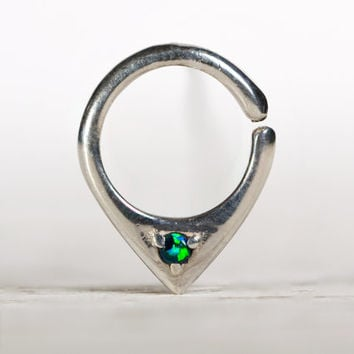 Opal Septum Ring Nose Ring Body Jewelry Sterling Silver with Green Opal Bohemian Fashion Indian Style 14g 16g - SE034R SS OP19