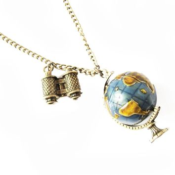 Vintage Jewelry Globe Telescope Alloy long Pendant Necklace for Women Retro Sweater Chain Fashion
