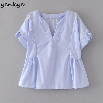 Elegant Women Beading Blouse Shirt Light Blue Tie Cuffs Short Sleeve V Neck Crop Top Fashion Summer Tops