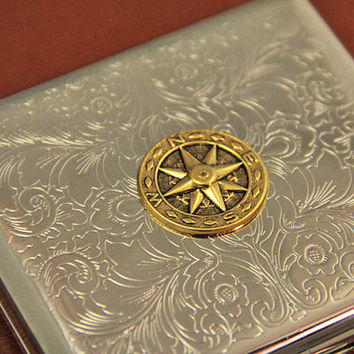 Compass Metal Wallet Cigarette Box and Cigarette Case Rustic Steampunk Smoking Gifts Steel and 24kt Gold Vintage Accessory Handmade Gift