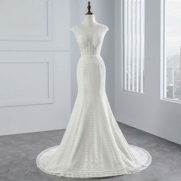 Cap Sleeves Mermaid  wedding dress beading beading sexy lace Wedding Gown