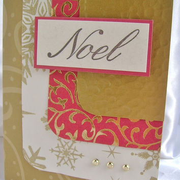 Handmade card - Christmas Card - Elegant Christmas Card - Rich, embossed gold and red paper, Noel greeting and gold accents