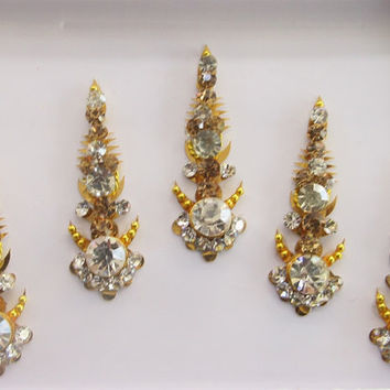Gold Long Face Jewels Bollywood Designer Bindis/Indian India Bindis/Bindi Sticker/Bindi Jewels/Face Jewels/Fancy Bindis Online/Golden bindis
