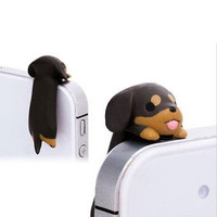 Cute 3.5mm Dachshund Puppy Dog dust plug Mobile Phone Ear Anti Dust Plug 1PC HUU