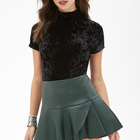 FOREVER 21 Fluted Faux Leather Skirt Dark Green