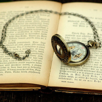 Brass Mechanical Pocket Watch Necklace with Astrology by ragtrader