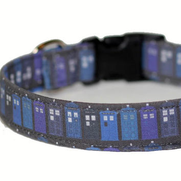 Dr Who Dog Collar  Custom Dog Collar - Tardis Collar