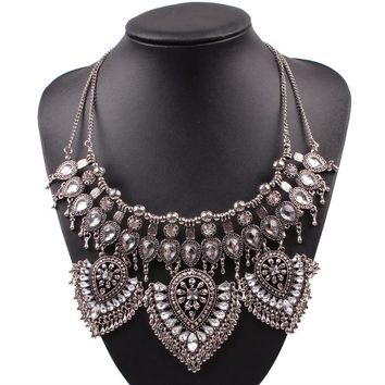Hot Sale 2017 Fashion Brand New Design Pendant Necklace For Women Chain Vintage Ally Chunky Statement Crystal Luxury Necklace