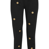 Boutique Moschino - Embellished quilted cotton-blend jersey track pants