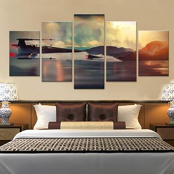 5 Panel Canvas Prints Art Star Wars Film Painting Wall Art 5 Pieces Printed Poster Canvas Pictures
