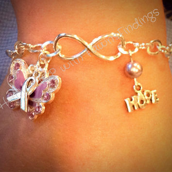 Fibromyalgia/Invisible Diseases Infinity & Hope Awareness Bracelet / Anklet -Purple Enamel Butterfly, Awareness Ribbon, Hope Charm, SP Chain