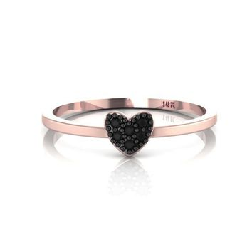 Black Diamonds Heart Ring 14K Rose Gold