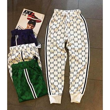 Gucci Fashion Women Men Casual More Logo Print Two Stripe Elastic Waistband Sport Pants Trousers Sweatpants White