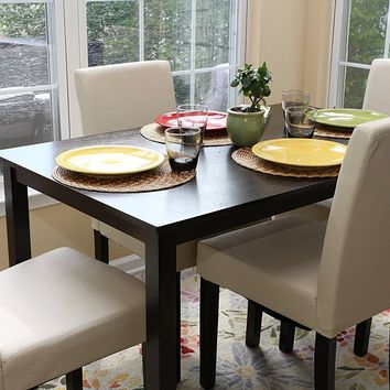 New Century® 5 Pieces Ivory Faux Leather 4 Person Dining Table With Chairs