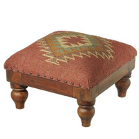 "Wooden Foot Stool - 11 "" H X 15.5 "" W X 15.5 "" D"
