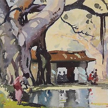 Arul Raj Watercolor Painting India Modernism Listed Lakeside Landscape