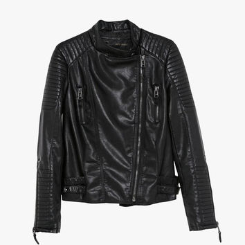 Black Faux Leather Quilted Moto Jacket