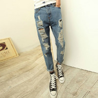 Ripped Street Style Fashion Men's Jeans