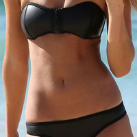 Black Strapless Zip Up Top Low Rise Bikini Set
