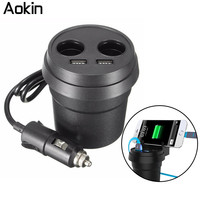Aokin Cup Car Charger 5V 3.1A Fast Charger Voltage LED Display 2 Car Cigarette Lighter Dual USB Port Car Charger Cup Holder