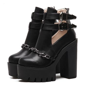 Spring Autumn Fashion Ankle Boots For Women High Heels Casual Cut-outs Buckle Round Toe Chain Thick Heels Platform Shoes