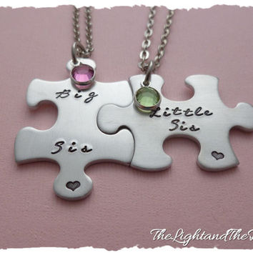 Sorority Puzzle Matching Set Sisters Necklace Big Little with swarovski Elements sister college birthstones  Pledge Rush Pledgling Ceremony