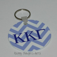 Personalized Kappa Kappa Gamma Chevron Design Circle Key Ring with Personalized Back